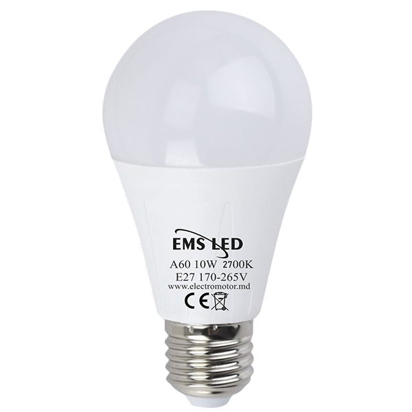 Bec LED 10W A60 2700K E27 EMS