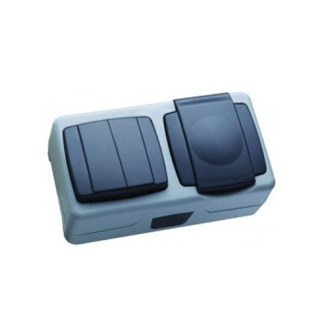 Intrerupător + priză cu capac exterior 250V Makel