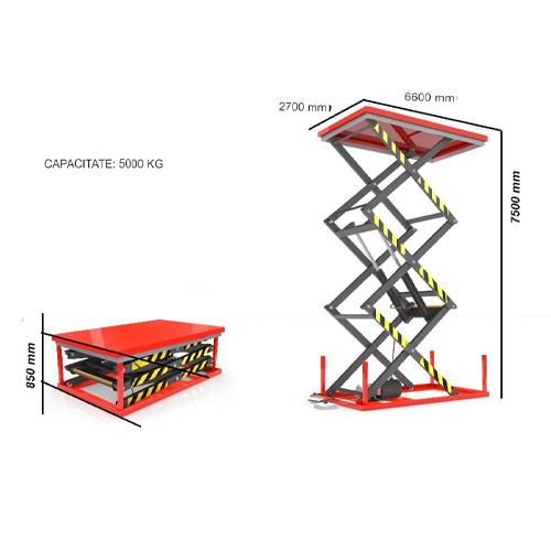 Platformă stationara de ridicare 5T 1 kVA 5 t 7,5 m